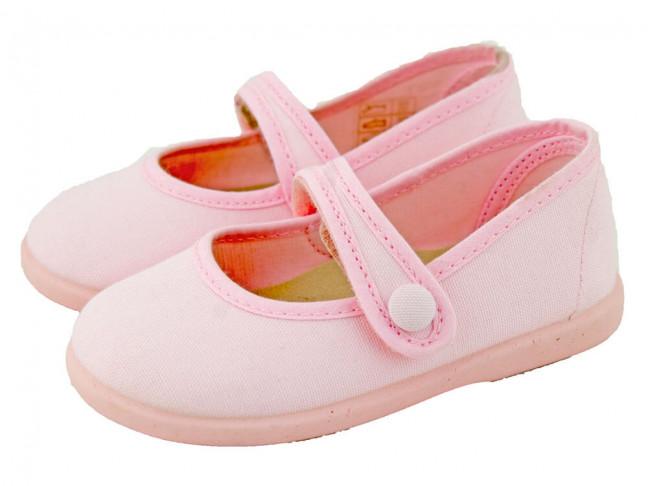Merceditas niña lona botón velcro rosa claro