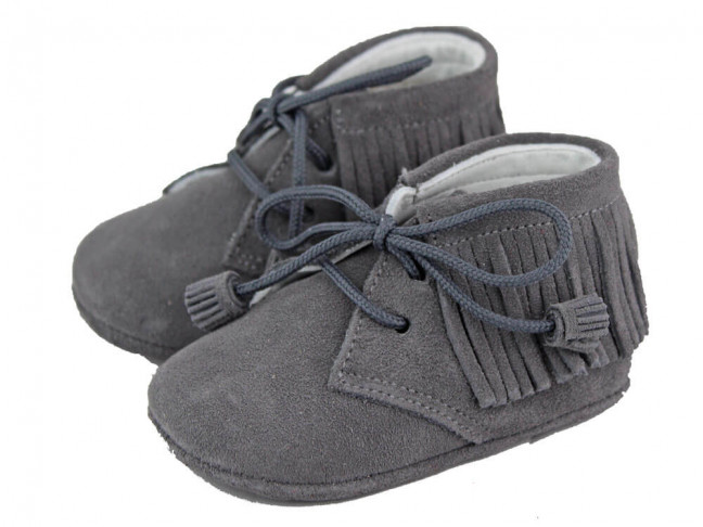 Botitas bebe serraje flecos gris