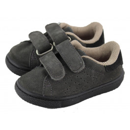 Zapatillas niña niño velcro serraje gris