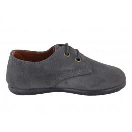 Zapatos blucher niño niña serraje cordones gris