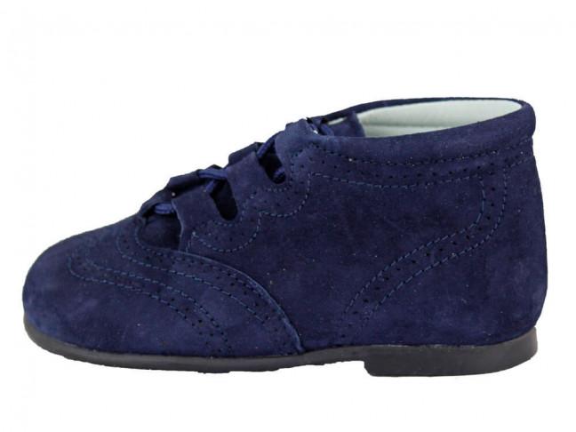 Zapatos Inglesitos Bota Niño Niña Piel Azul Marino