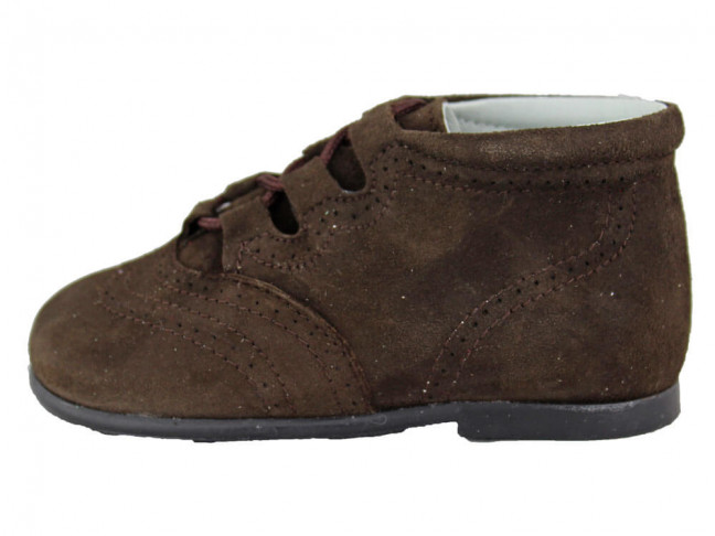 Zapatos Inglesitos Bota Niño Niña Piel Marrón