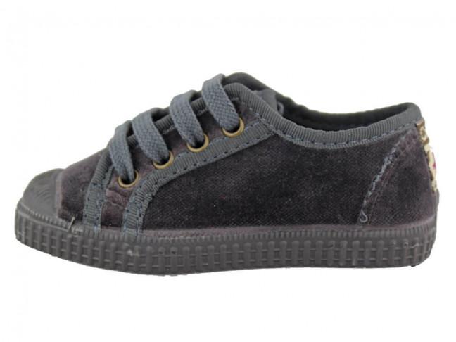 Zapatillas niño niña terciopelo puntera grises