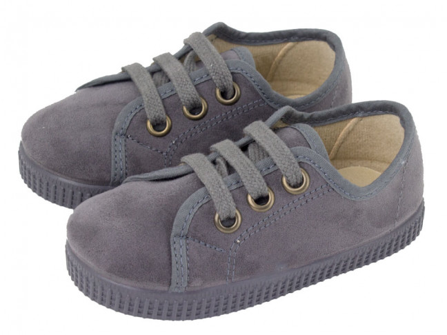 Zapatillas niño niña cordones serratex topo