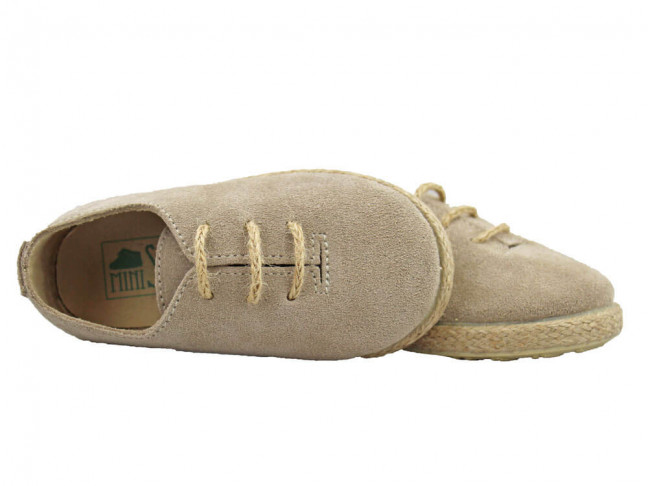 Zapatos Blucher Niña Niño Serraje cuerda Beige