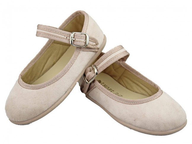Merceditas niña hebilla alta textil beige