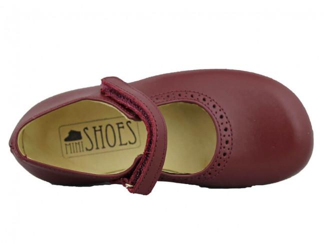 Zapatos Colegio Merceditas Niña Tira Fina Velcro burdeos