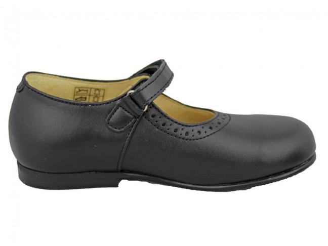 Zapatos Colegio Merceditas Niña Tira Fina Velcro negras
