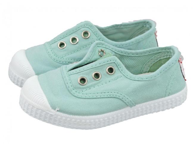 Zapatillas bambas niño niña puntera lavadas verde aguamarina