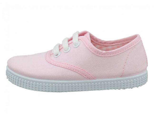 Zapatillas Bambas niño niña Cordones Vichy rosas