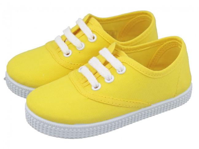 Zapatillas Bambas niño niña Cordones Vichy amarillas
