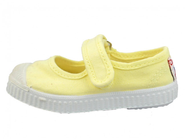 Merceditas Niña Lona Puntera Suela Tenis amarillas