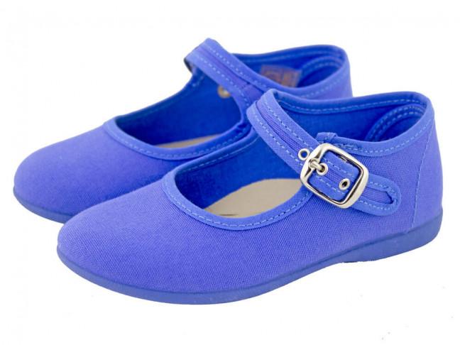 Mercedita niña lona tobillo azul