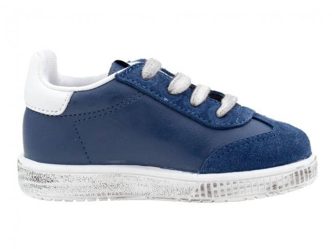 Zapatillas niños piel cordones azules