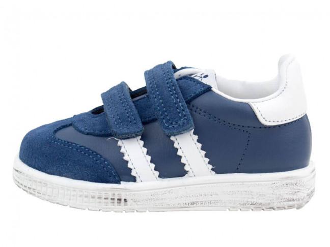 Zapatillas niños piel velcro azules