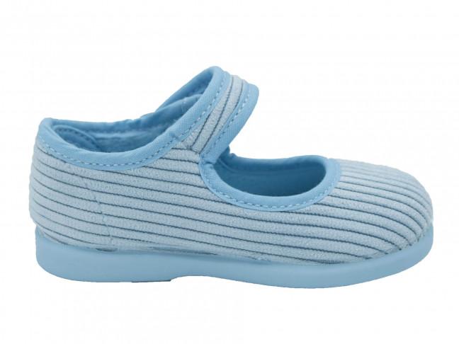 Zapatillas Casa Niña Merceditas Velcro Pana Azul claro