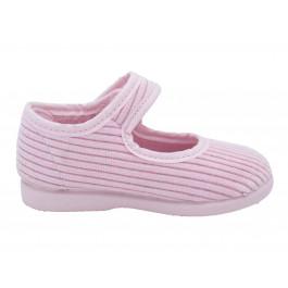 Zapatillas Casa Niña Merceditas Velcro Pana Rosas