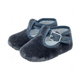 Pepitos bebe terciopelo velcro grises